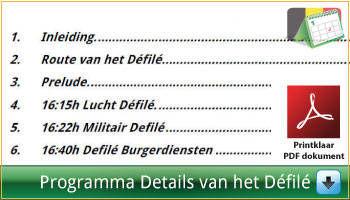 Programma van het lucht défilé, militair défilé en défilé van de burgerdiensten aan het Paleizenplein Brussel via www.feestdagen-belgie.be