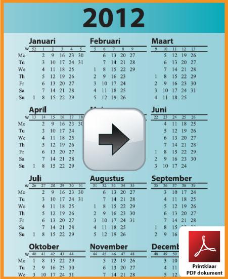 Gratis jaarkalender 2012 met weeknummers incl de Belgie feestdagen en schoolvakanties. Zakelijk. via www.feestdagen-belgie.be