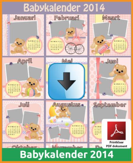 Gratis jaarkalender 2014 babykalender met de Belgie feestdagen en schoolvakanties (download kalender 2014) via www.feestdagen-belgie.be