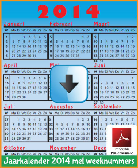 Gratis jaarkalender 2014 met weeknummers met Belgie feestdagen en schoolvakanties (download kalender 2014) via www.feestdagen-belgie.be