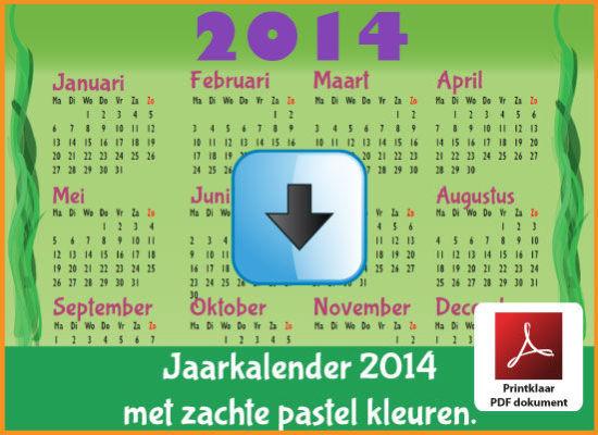 Gratis jaarkalender 2014 met de Belgie feestdagen en schoolvakanties. Zachte Kleuren. (download kalender 2014) via www.feestdagen-belgie.be