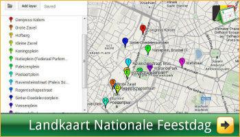 Google Landkaart met alle locaties en adressen van Nationale Feestdag Brussel via www.feestdagen-belgie.be