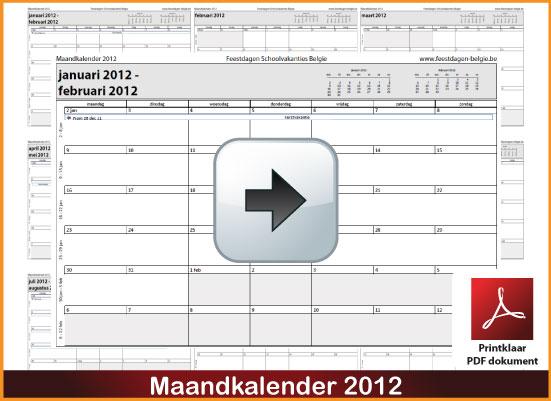 Gratis maandkalender 2012 incl de Belgie feestdagen en schoolvakanties. via www.feestdagen-belgie.be