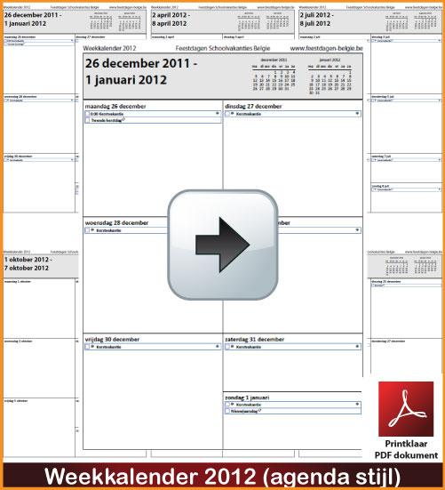 Gratis weekkalender 2012 incl de Belgie feestdagen en schoolvakanties. Agenda Stijl. via www.feestdagen-belgie.be