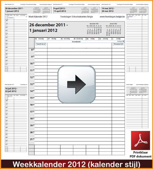 Gratis weekkalender 2012 incl de Belgie feestdagen en schoolvakanties. Kalender Stijl. via www.feestdagen-belgie.be