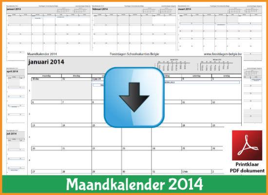 Gratis maandkalender 2014 met de Belgie feestdagen en schoolvakanties (download kalender 2014) via www.feestdagen-belgie.be