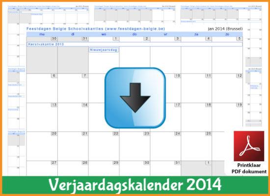Gratis verjaardagskalender 2014 met de Belgie feestdagen en schoolvakanties (download kalender 2014) via www.feestdagen-belgie.be