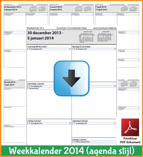 Gratis weekkalender 2014 met de Belgie feestdagen en schoolvakanties. Agenda Stijl. (download kalender 2014) via www.feestdagen-belgie.be
