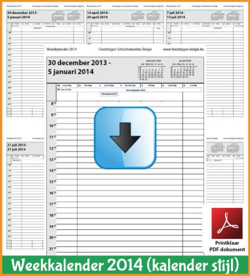 Gratis weekkalender 2014 met de Belgie feestdagen en schoolvakanties. Kalender Stijl. (download kalender 2014) via www.feestdagen-belgie.be