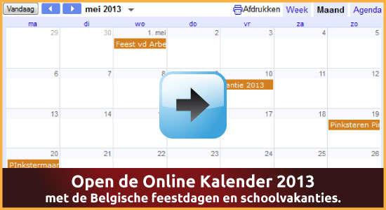 Google Agenda 2013 Feestdagen Schoolvakanties Belgie datums kalender via www.feestdagen-belgie.be