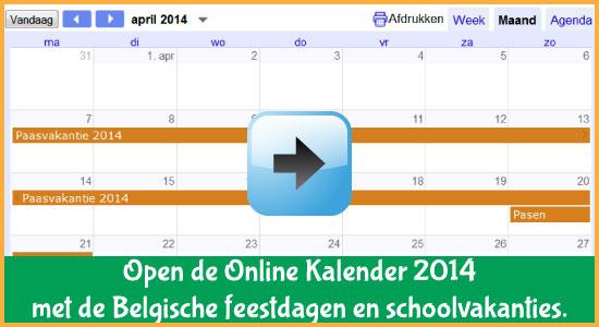 Google Agenda 2014 Feestdagen Schoolvakanties Belgie datums kalender via www.feestdagen-belgie.be