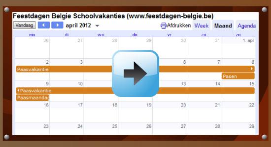 Google Agenda 2012 Feestdagen Schoolvakanties Belgie datums kalender via www.feestdagen-belgie.be